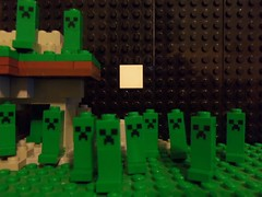 More Creepers (Storm Brick) Tags: moon mountain tower night square lego mini custom spawn creeper creature creepers exploding buil minecraft