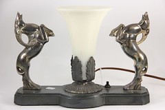 1. Art Deco Lamp with Rearing Rams