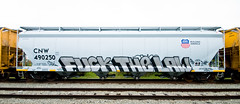 Fuck The Law (TheHarshTruthOfTheCameraEye) Tags: california train graffiti three gun pacific fuck famous union letters unionpacific guns law northern freight civ ver benching fuckthelaw bobkat bkat famousthreeletters