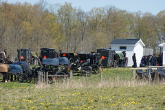 2012-04-22_Meeting is Out (Mark Burr) Tags: meetinghouse mennonite horseandbuggy brucecounty oldordermennonite huronkinloss