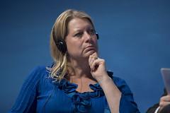 Catharina Elmsäter-Svärd listens to a speaker