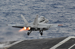 A jet launches from USS Dwight D. Eisenhower. (Official U.S. Navy Imagery) Tags: ocean sea usa greyhound composite train training ship exercise aircraft military united navy atlantic helicopter maritime maintenance operations hawkeye hornet states patriots naval cod c2 flattop atlanticocean uss carrier flightdeck commander ops 5star prowler unit squadron wildcats seahawk e2c fa18 strikefighter pukindogs ea6b jollyrogers hh60h comptuex sh60 dwightdeisenhower vfa131 cvn69 vfa103 antisubmarine airborneearlywarning rampagers vfa83 hs5 vaq140 electronicattack bluetails nightdippers vaw121 vfa143 ccsg8 strikegroup8 airwing7 cag7