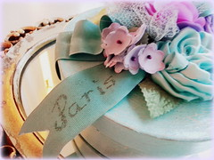 """Paris"" ribbon on tre'sor box (AllThingsPretty...) Tags: blue paris french aqua box lavender crackle fabricroses"