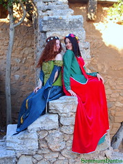Medieval inspired ladies I (SomniumDantis) Tags: flower castle costume dress fair medieval fantasy romantic historical crown gown renfair reenactment preraphaelite romanticism flowercrown surcote