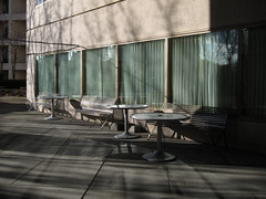 Swedish Hospital, First Hill, Seattle (Blinking Charlie) Tags: seattle usa hospital lightandshadows patio benches washingtonstate lightandshadow 2012 verticalblinds cherrystreet firsthill swedishmedicalcenter canonpowershots95 blinkingcharlie