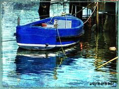 Blueness (wolfmanmoike) Tags: blue sea texture vintage pier boat harbour grunge quay wicklow photoart arklow berth