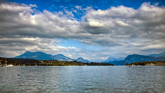 0289 - Switzerland, Lucerne HDR (Barry Mangham) Tags: sky lake mountains water clouds canon switzerland swiss luzern lucerne hdr lightroom photomatix