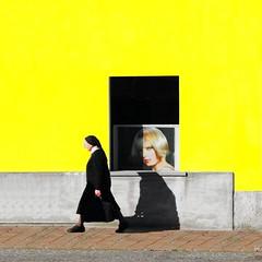 Ma guarda e passa (meghimeg(temporarily disconnected)) Tags: shadow sun yellow walking square sister ombra nun explore gelb giallo sole suora 2012 quadrato camminata cairomontenotte