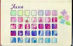 2012_06_01 calendar (blue_belta) Tags: color art moleskine june design sketch calendar drawing hydrangea coloredpencil 色鉛筆 6月 カレンダー スケッチ モレスキン