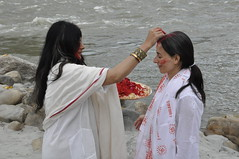 "applying the sacred tilak during celebrations at Ma Ganga Yoga Shakti Retreat • <a style=""font-size:0.8em;"" href=""http://www.flickr.com/photos/80108875@N05/7362080616/"" target=""_blank"">View on Flickr</a>"