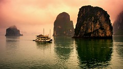 Out of the Mist II (DPGold Photos) Tags: travel seascape water fog bay nikon asia southeastasia cliffs vietnam limestone halong halongbay