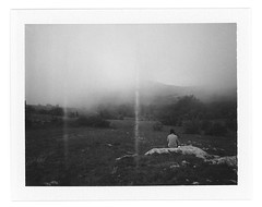 Spirady Mountain in a cloud (Andrey Timofeev) Tags: trees sky mountains nature girl grass lines fog clouds analog landscape polaroid back rocks view stones horizon spirits mystical ghosts analogue crimea atmospheric landcamera densefog        00502        inacloud    polaroidcolorpackiii fujifilmfp3000b  instantblackwhitefilm  21may2012