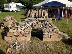 WM Brian Post 4, freestanding wall, arch, vertical cope stones, dry laid stone construction, copyright 2014