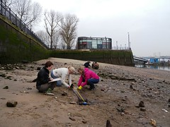 Recording work at the western end of the site (Thames Discovery Programme) Tags: london archaeology thames river community greenwichpalace fgw04 thamesdiscoveryprogramme
