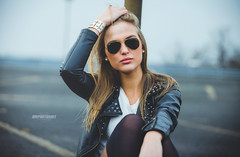 Lisa leather jacket portrait (onephotoshot ) Tags: lighting light portrait woman beauty leather canon photography daylight airport zoom parking famous hannover deck jacket views pantyhose comments available lightroom hotpants 70200mm photoshooting explored onephotoshot