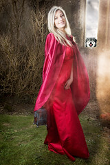 who is afraid of the big bad.., (BarryKelly) Tags: red girl model wolf dress smoke ruin silk blonde satin capelantern