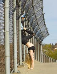 Janelle (austinspace) Tags: portrait woman yoga centennial spokane downtown stretch trail blond blonde handstand leotard gonzaga
