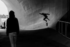 Jump! (Maerten Prins) Tags: new blackandwhite netherlands monochrome station silhouette youth jump arnhem curves nederland trainstation skate curve youngsters unstudio vanberkel