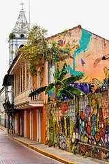 Panama - Casco Viejo side street (marionchantal) Tags: street travel art graffiti mural vibrant painted murals worldheritagesite panama centralamerica sanfelipe cascoviejo oldquarter cascoantiguo 180300mm nikond7200