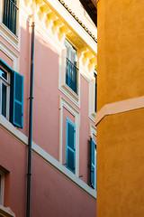 Monochrome buildings (lorenzoviolone) Tags: pink windows italy orange roma monochrome facade buildings reflex nikon dslr lazio fujiastia100f vsco d5200 nikkor18105mm nikond5200 vscofilm walk:rome=april2016