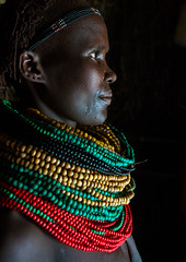 Nyangatom tribe woman profile with piles of beads, Omo valley, Kangate, Ethiopia (Eric Lafforgue) Tags: africa red people color green vertical outdoors necklace women day adult african decoration jewelry tribal indoors pile blackpeople bead omovalley tradition ethiopia tribe ethnic cultural oneperson jewel developingcountry ethnicity hornofafrica ethiopian eastafrica abyssinia traditionalclothing realpeople blackskin beadednecklace bume onewomanonly 1people indigenousculture africanculture ethnicgroup bodyadornment nyangatom kangate blackethnicity ethiopianethnicity kangatan ngakaaly ethio161703