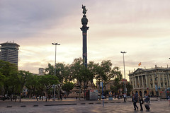 The Columbus Monument - Barcelona, Spain - May 2016 (Abraham.Basil) Tags: barcelona street sky people sunlight building monument statue spain catalonia christophercolumbus