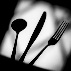 Framed Steel (www.stevengreenphotogallery.com) Tags: blackandwhite stilllife white monochrome shadows knife fork spoon cutlery liveanduncut