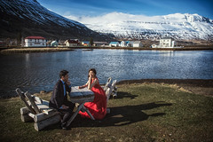 [somewhere in iceland] Fjord town (pooldodo) Tags: wedding prewedding pooldodo taotzuchang iceland fjord bride red groom