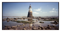 plover_scar_lighthouse_6x12_PORTRA-1 (D_M_J) Tags: camera uk light panorama lighthouse house seascape west 120 film abbey landscape coast kodak north large panoramic lancashire lee roll epson medium format shen filters 90mm scar portra plover circular hao cpl horseman 160 c41 polariser rodenstock 6x12 vuescan tetenal cockersands colortec v850 hzx45 colourperfect