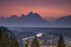 Misty Teton Sunset (Vision & Light Photo) Tags: pink blue autumn sunset usa mist mountain mountains art fall nature beauty fog river season landscape rockies photography photo nationalpark scenery outdoor dusk pastel fineart scenic photograph snakeriver serene wyoming grandtetons teton tetons majestic grandteton americanwest fineartphotography mountainrange grandtetonnationalpark westernusa fineartphoto dramaticlight snakeriveroverlook fineartphotograph