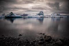 Moody Jokulsarlon - EXPLORED!!! (KrissyM_77) Tags: longexposure summer reflection beach water june iceland rocks lagoon glacier iceberg jokulsarlon nd110 bigstopper