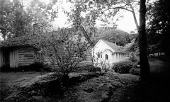 Indian Mission Schoolhouse & Episcopal Church (sarah_kay_gee) Tags: blackandwhite 35mm virginia bearmountain fujineopan amherstcounty pinkslimdress monacannation