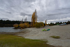 Getting Ready to Go Out on the Lake (Jocey K) Tags: autumn trees newzealand sky cars clouds wind autumncolours southisland centralotago windsurfing windsurfer lakewanaka tripdownsouth