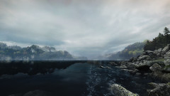 VOEC - 016 (Screenshotgraphy) Tags: bridge sunset mountain lake game nature water colors contrast forest landscape soleil screenshot gare lumire lac ethan steam gaming beaut carter concept paysage vanishing campagne foret beautifull jeu naturelle urbain