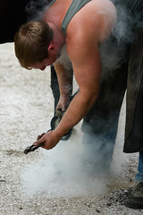 Farrier Time 2 (warth man) Tags: horse hot smoke heat smokey d750 shoeing horseshoes farrier nikon135mmf2dc