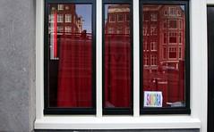 Sandra@work (Iam Marjon Bleeker) Tags: holland reflection amsterdam sandra prostitute singel hooker redlightdistrict canalhouse redcurtains thalita147