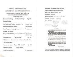 Christopher Bodensteiner's Funeral Program