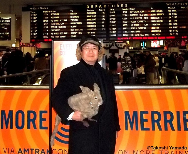 Seara (sea rabbit) and Dr. Takeshi Yamadar at New York Penn Station in Manhattan, New York on December 28, 2011.     20111228 009
