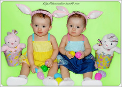 Happy Easter 2012 (Danica Photography) Tags: blue girls baby rabbit bunny green girl animal animals yellow easter photography twins infant babies twin ears ear fraternal infants bunnyears 2012 bunnyrabbits pnk happyeaster fraternaltwins twingirls infantphotography danicadior fraternaltwingirls