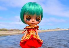 jupiter (cybermelli) Tags: red sky green beach vintage hair island doll long skin boots heather tan barbie squishy blythe custom takara fritzybitz