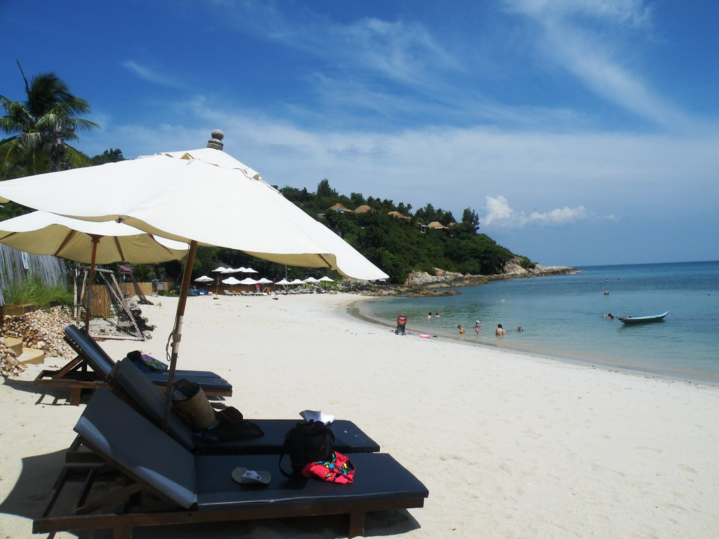 Deckchairs on Plai Laem Beach, Ko Samui, Thailand