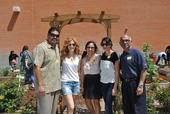 Rachelle Lefevre and garden sponsors from Toyota of Hollywood