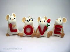 Love Mice (Quernus Crafts) Tags: love mouse letters mice tulip spelling alphabet whitemice polymerclayquernuscraftscute
