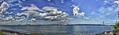 Front St Pano. (JVierno77) Tags: city bridge blue sky panorama ny newyork water brooklyn clouds canon bay harbor boat ship suspension statenisland hdr narrows verrazano sigma1850 cs5 60d vznarrowsbridge