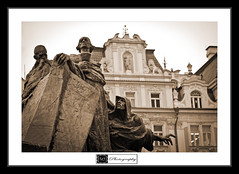 Prague - Jan Hus Monument (MLechuga Photography) Tags: world life street new old city travel blue trees light boy sunset red portrait sky people blackandwhite bw italy music orange usa sun white mountain lake snow man black mountains flower macro tree green london art fall cars nature colors girl rock architecture night clouds digital forest canon reflections germany landscape photography eos is photo dof prague action bokeh eu sigma wideangle chrome 7d summertime usm dslr canoneos hdr kaiserslautern intheair 2012 eos7d canoneos7d monsieuri