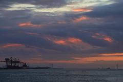 Fire and Water (Peet de Rouw) Tags: sunset sky clouds zonsondergang noordzee wolken lucht maasvlakte peet europoort portofrotterdam maasmond denachtdienst peetderouw