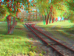 Early morning tracks (katyfernleigh) Tags: 3d anaglyph stereo spm twincamera ixus70 sdmsync