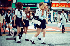 Zombie School Girl (Jon Siegel) Tags: school girls japan walking japanese 50mm tokyo crazy nikon women uniform afternoon zombie shibuya nuts uniforms nikkor zombies schoolgirls f12 nikkor50mmf12 d700
