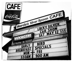 Cafe Americana (Vorona Photography) Tags: auto show street city usa classic cars sign bar dinner america vintage silver way grit lunch photo washington cafe highway neon angle state image cola south united picture cruising diner coke spoon gritty racing retro neighborhood nostalgia 99 american nostalgic americana local tacoma cocacola states fading roadside cocktails coca automobiles cruisers marcias