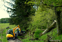 Drainage Repairs (B4bees) Tags: trees flooding hillside tractors diggers backroad repairs culvert drainage jvc perthkinross ledlanet